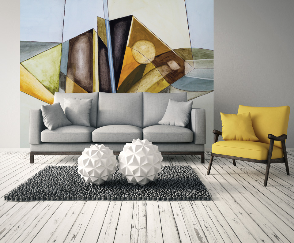 Abstract Modernist Geometric Wall Mural