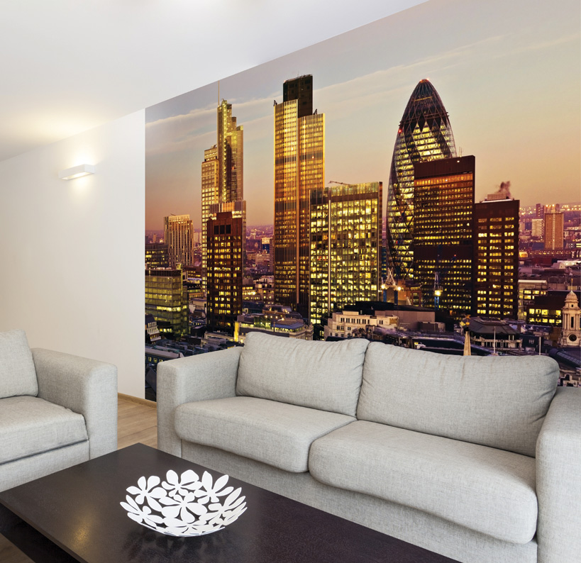 Gherkin and london skyline at dusk wall mural for Cityscape wall mural