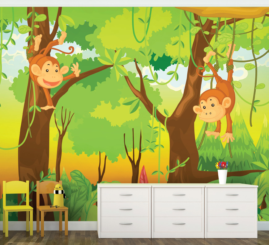 Monkeys In The Jungle Childrens Wall Mural
