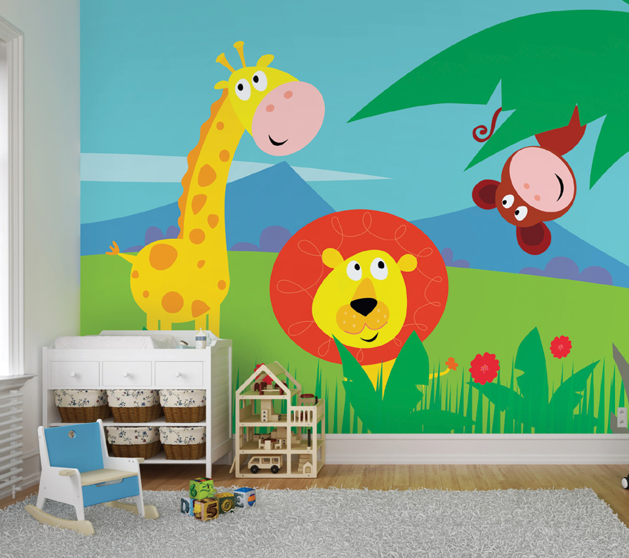 Jungle childrens wall mural