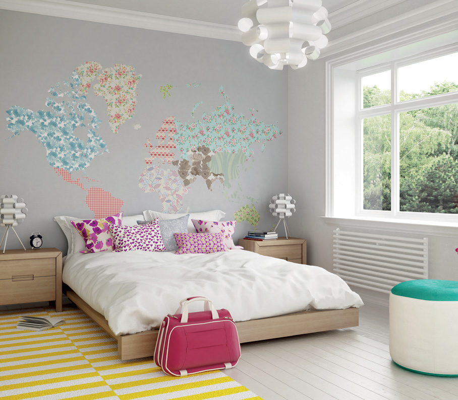 funky ditsy world map wall mural view