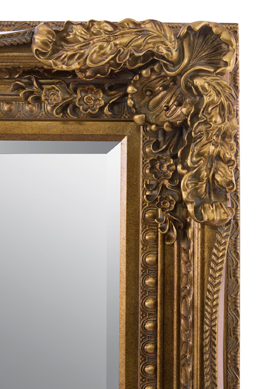 Large Ornate Shabby Chic Style Framed Mirror In Gold