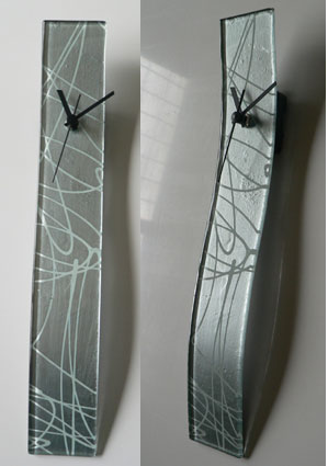 White Abstract Lines Glass Wall Clock
