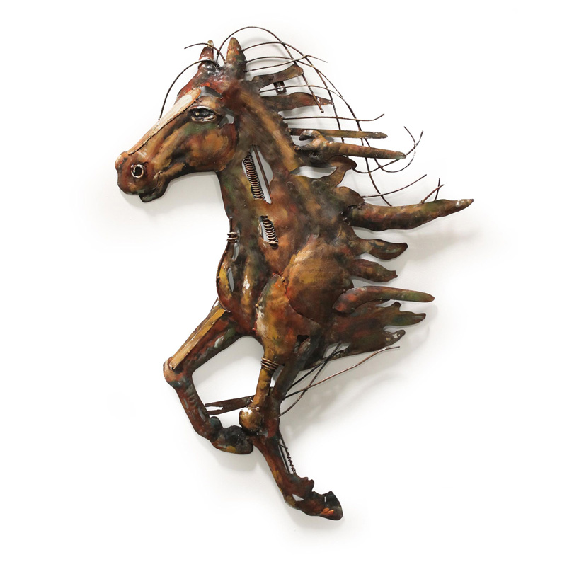 Hand Crafted Galloping Metal Horse Wall Art