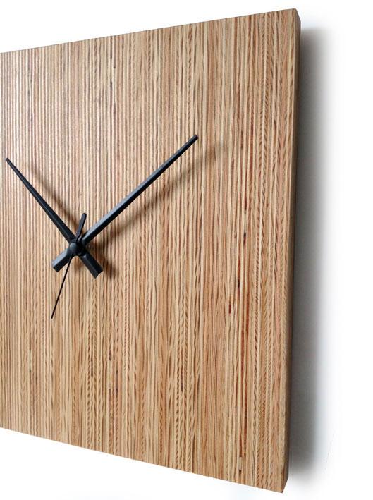 Square Pine Wood Wall Clock