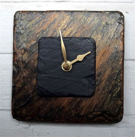 Smaller Bronze And Amber Square Slate Wall Clock