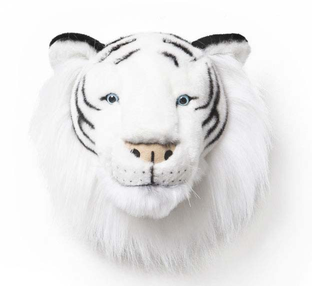 SOFT CUDDLY WHITE TIGER HANGING HEAD