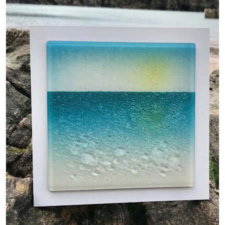 Contemporary Beach Themed Fused Glass Wall Panel