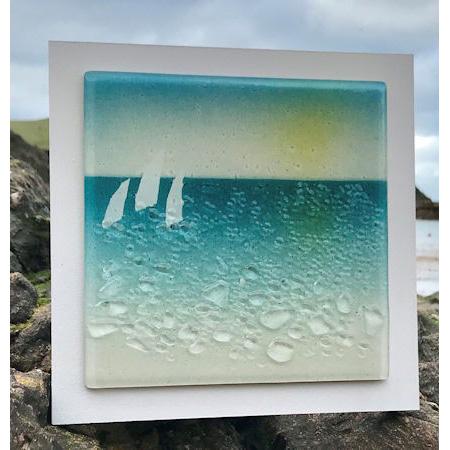 Serene Devon Coast Fused Art Glass Wall, Fused Glass Artwork Wall